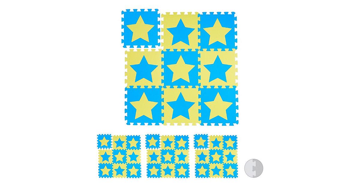 36 x Puzzlematte Sterne Spielunterlage Play Mat Schaumstoffpuzzle Puzzleteppich gelb-kombi