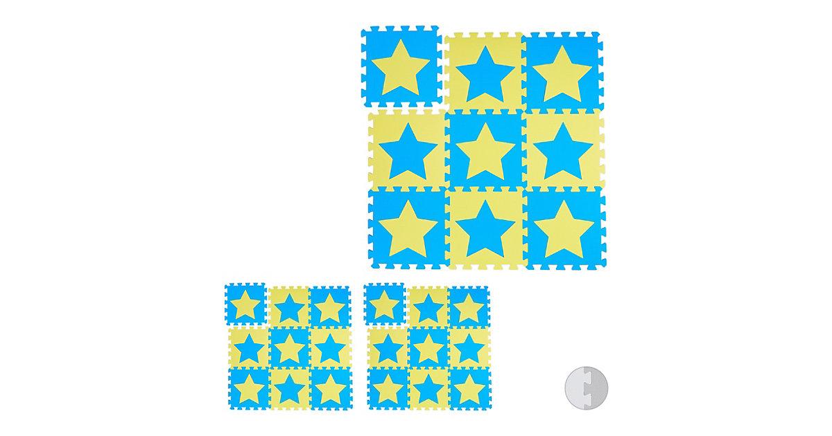 27 x Puzzlematte Sterne Spielteppich Krabbelmatte Kinderspielmatte Spielmatte gelb-kombi