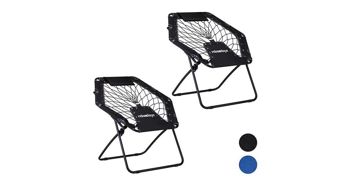 2 x Bungee Stuhl grau, Bungee-Chair Faltstuhl, Sessel Trampolinstuhl Kinder