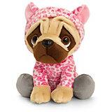 Мягкая игрушка Keel toys Pugsley Мопс в наряде розового леопарда, 22 см