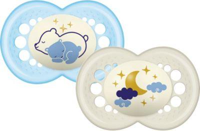 Schnuller Night Latex - Bär/Mond, 16+ Monate, 2er Set blau/beige
