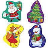 Мягкий пазл Vladi Toys Baby puzzle Дед Мороз и друзья, 4 шт