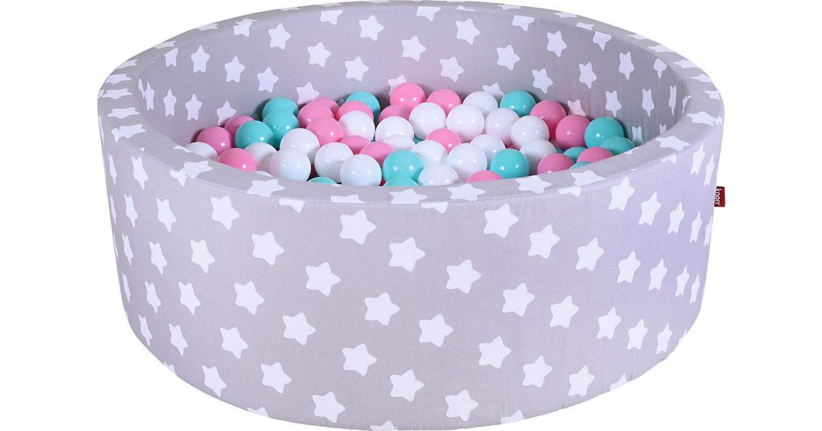 """Bällebad soft - """"Grey white stars"""" - 300 Bälle (rose,creme,lightblue)"""