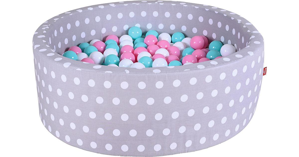 "Bällebad soft - ""Grey white dots"" - 300 Bälle (rose,creme,lightblue)"