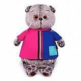 Мягкая игрушка Кот Басик в двухцветной футболке, 19 см