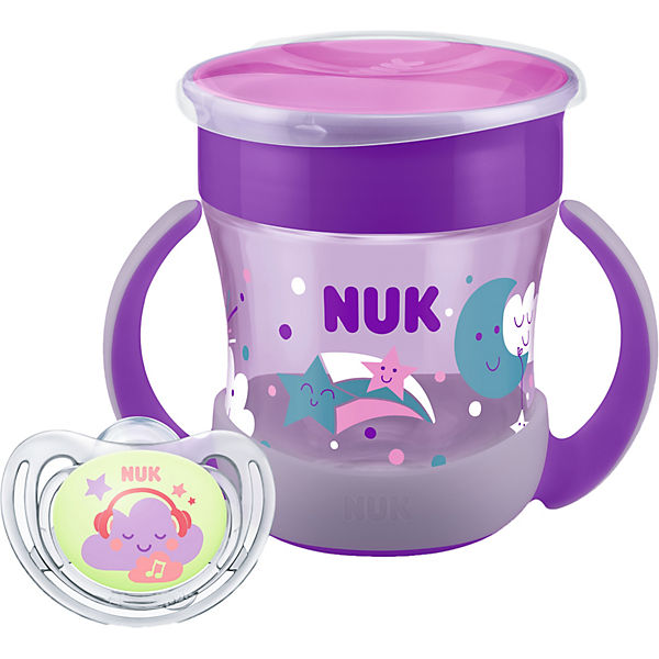 NUK Set MINI MAGIC+FREESTYLE, 160 ml, inkl. Glow in the Dark-Effekt GIRL