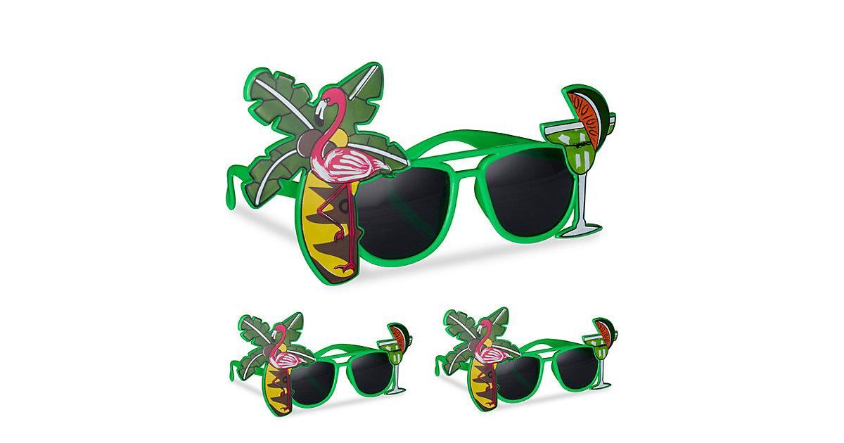 3x Partybrille Hawaii im Set Motivbrille mit Palme und Cocktail Hawaiibrille grün