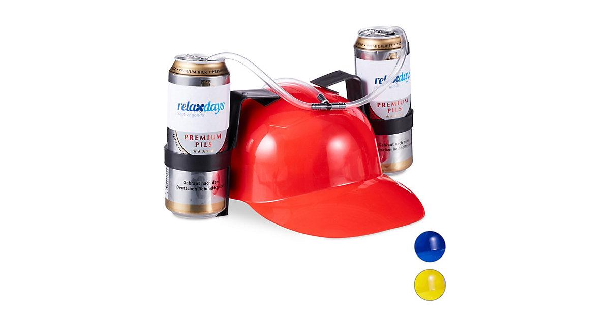 1 x Party Trinkhelm Festival Bierhelm 2 Dosenhalter Trinkschlauch Saufhelm rot
