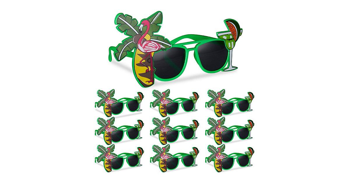 10x Partybrille Hawaii im Set Karnevalsbrillen mit Palme und Cocktail Spaßbrille grün