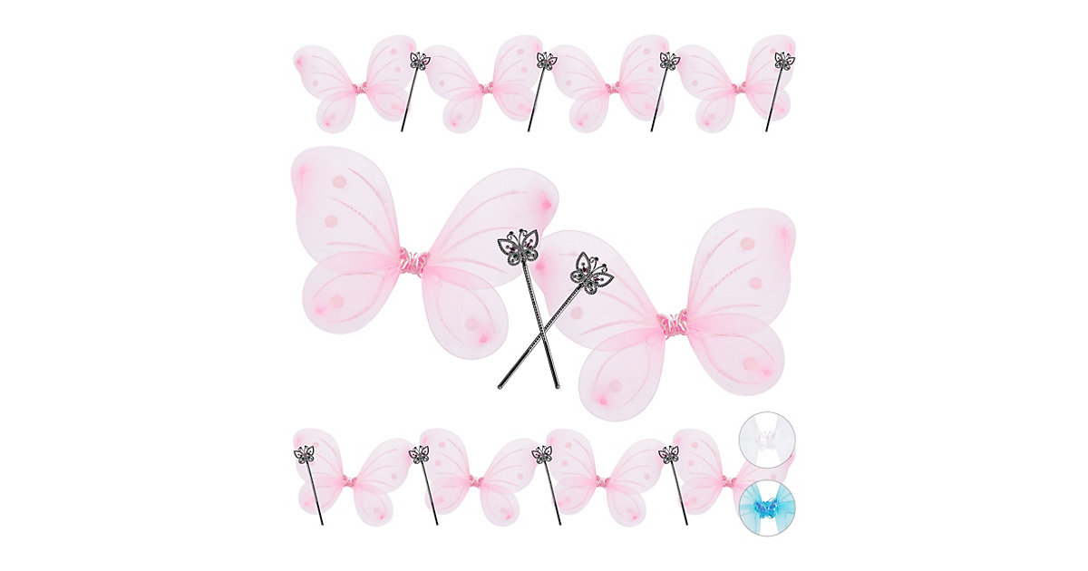10x Feenflügel Zauberstab, Elfenflügel pink, Fee Kostüm, Elfen Kostüm, Feenstab