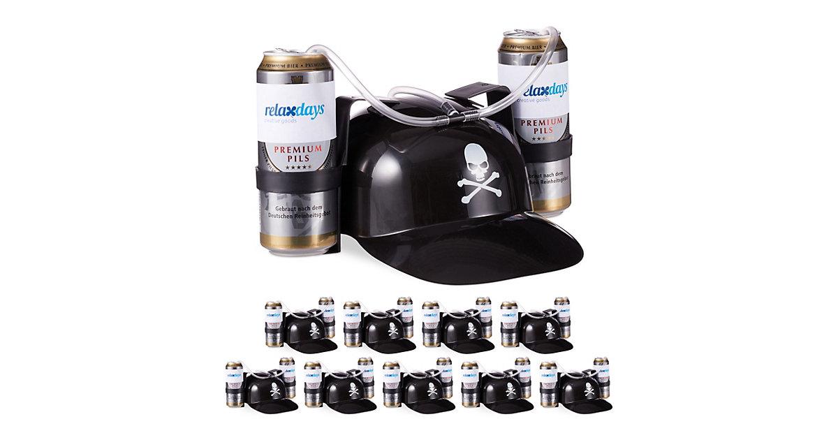 10x Trinkhelm Pirat, schwarz, Spaßhelm, Helm, Bierhut 2 Bierdosen, Totenkopf  Erwachsene