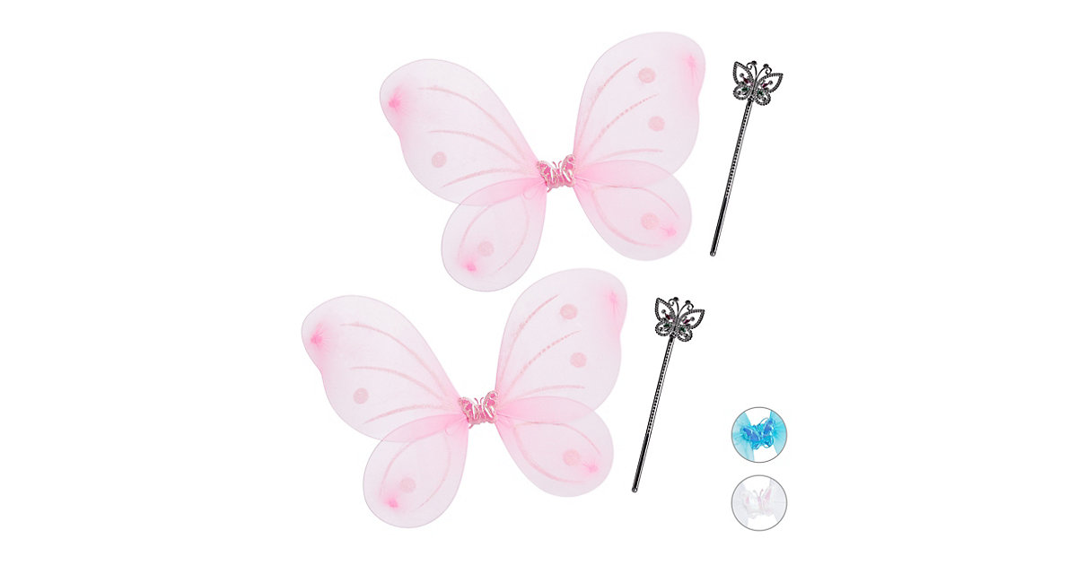 2 x Feenflügel pink Fee Kostüm mit Zauberstab Flügel Zepter Elfen Kostüm Kinder