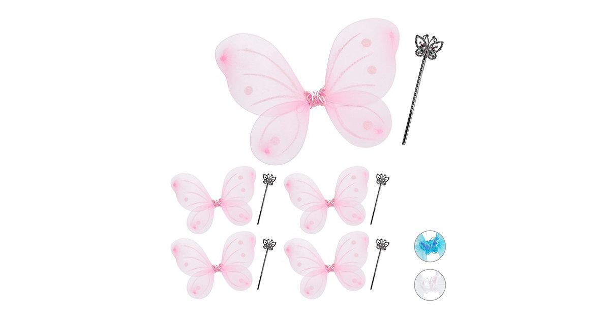 5 x Feenflügel mit Zauberstab Flügel pink Zepter Fee Kostüm Kinder Elfen Kostüm
