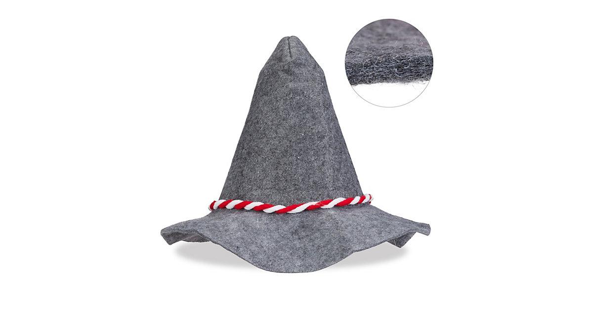 Seppelhut mit rot-weißer Kordel grau