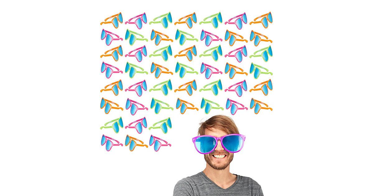 48x Partybrille groß Riesenbrille Scherzbrille Gagbrille Spaßbrille Clown Brille bunt