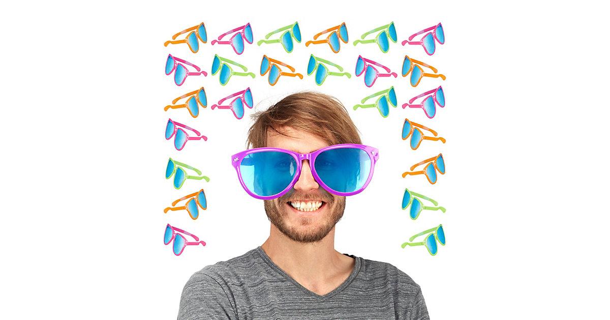 24x Partybrille groß Riesenbrille Hippiebrille Spaßbrille Gagbrille Scherzbrille bunt