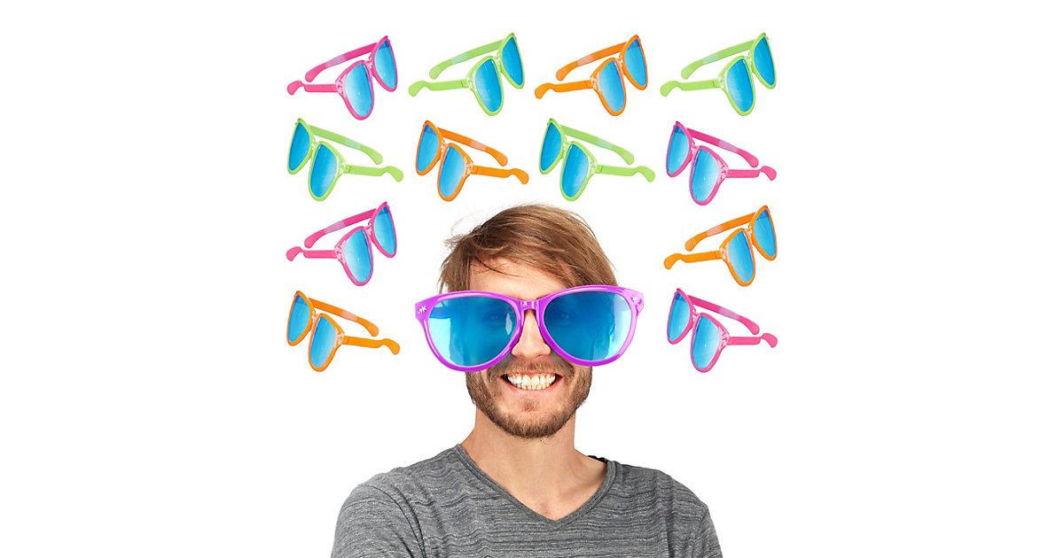 12x Partybrille groß Spaßbrille Riesenbrille Clown Brille Scherzbrille Gagbrille bunt