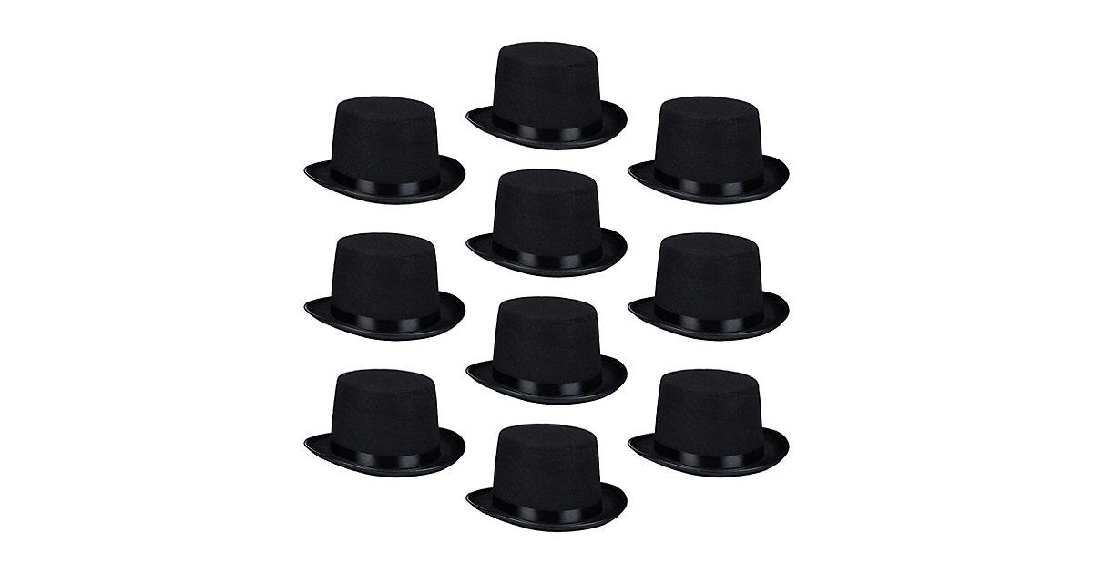10er Set Zylinderhut Einheitsgröße Zylinder Magierhut Gentleman klassischer Hut schwarz