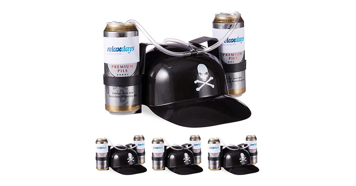 4 x Trinkhelm Pirat, Totenkopf, schwarz, Spaßhelm, Helm, Bierhut 2 Bierdosen  Erwachsene