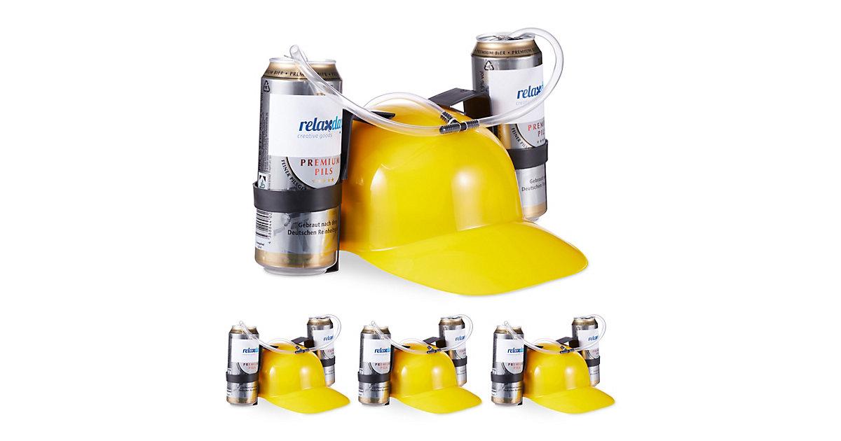 4 x Party Trinkhelm gelb, Bierhut, Helm, Flaschen, Dosen, Festival, Karneval