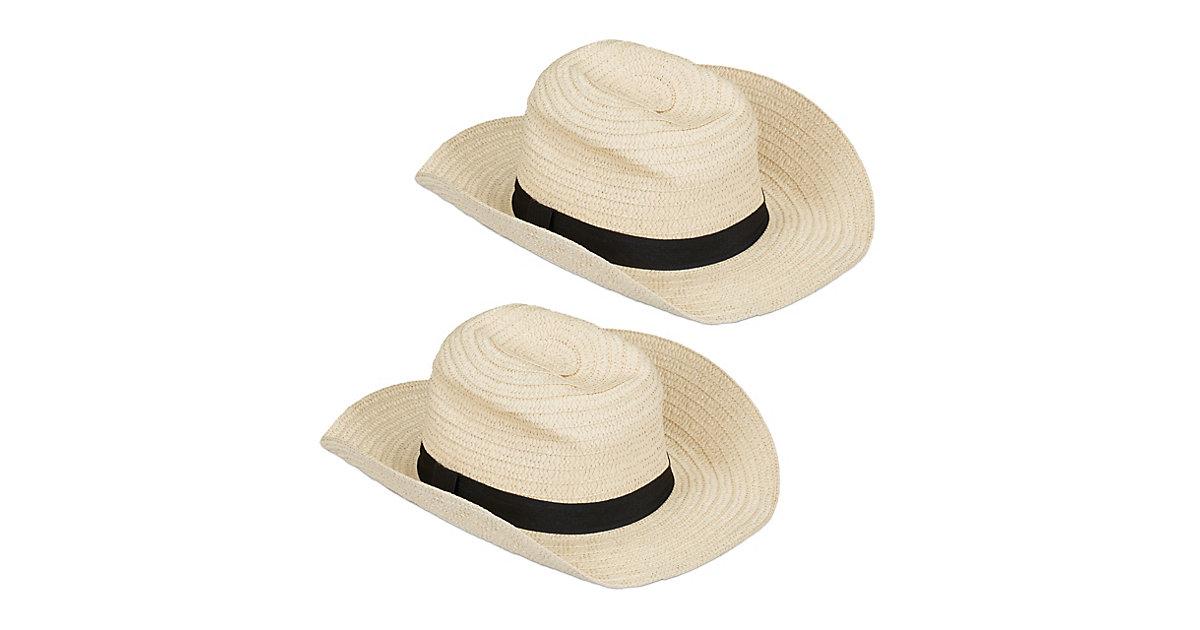 2 x Panamahut Trilby Hut Strohhut Damen Kostümhut Fedora Hut Herren Bogarthut beige