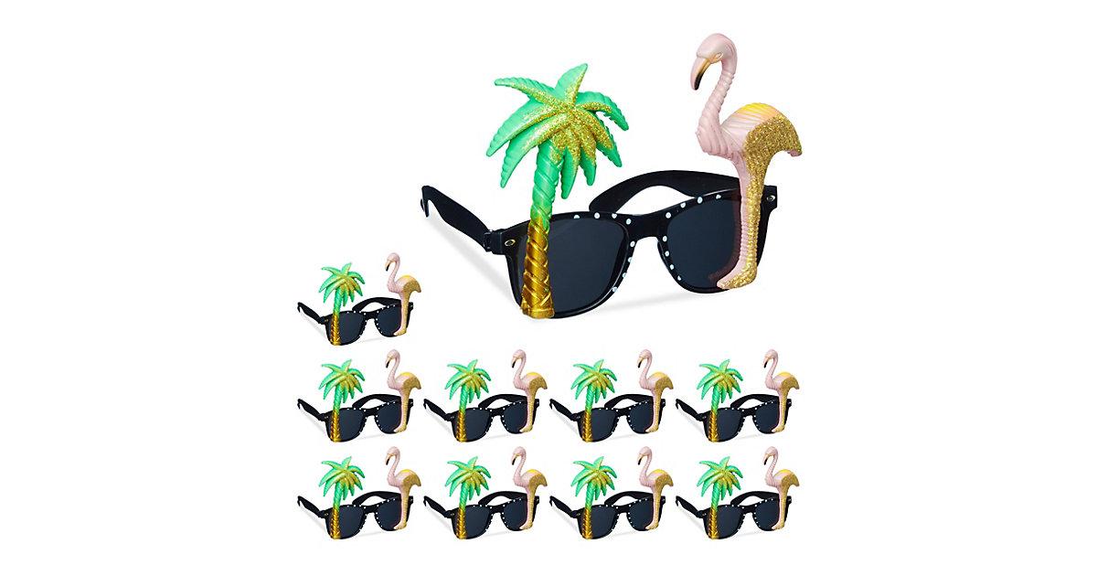 10 x Partybrille Flamingo Palme, Spaßbrille, Funbrille, Hawaii Brille, Gagbrille mehrfarbig
