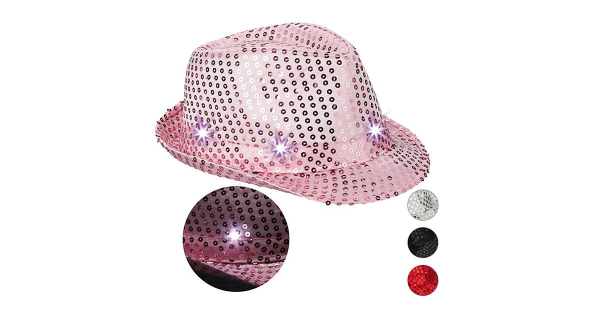 1 x Pailletten Hut Glitzer, LED Party Hut blinkend, Tanzhut Showhut Disco pink