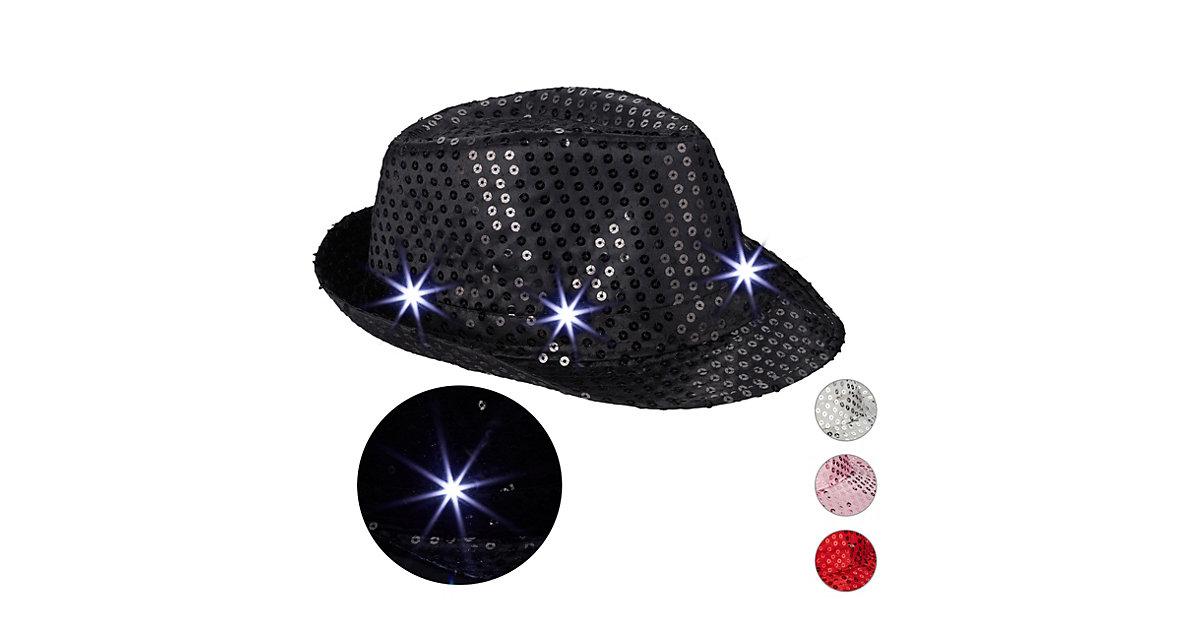 1 x Pailletten Hut schwarz, Glitzerhut, Trilby Hut, Hut Glitzer, Partyhut LED