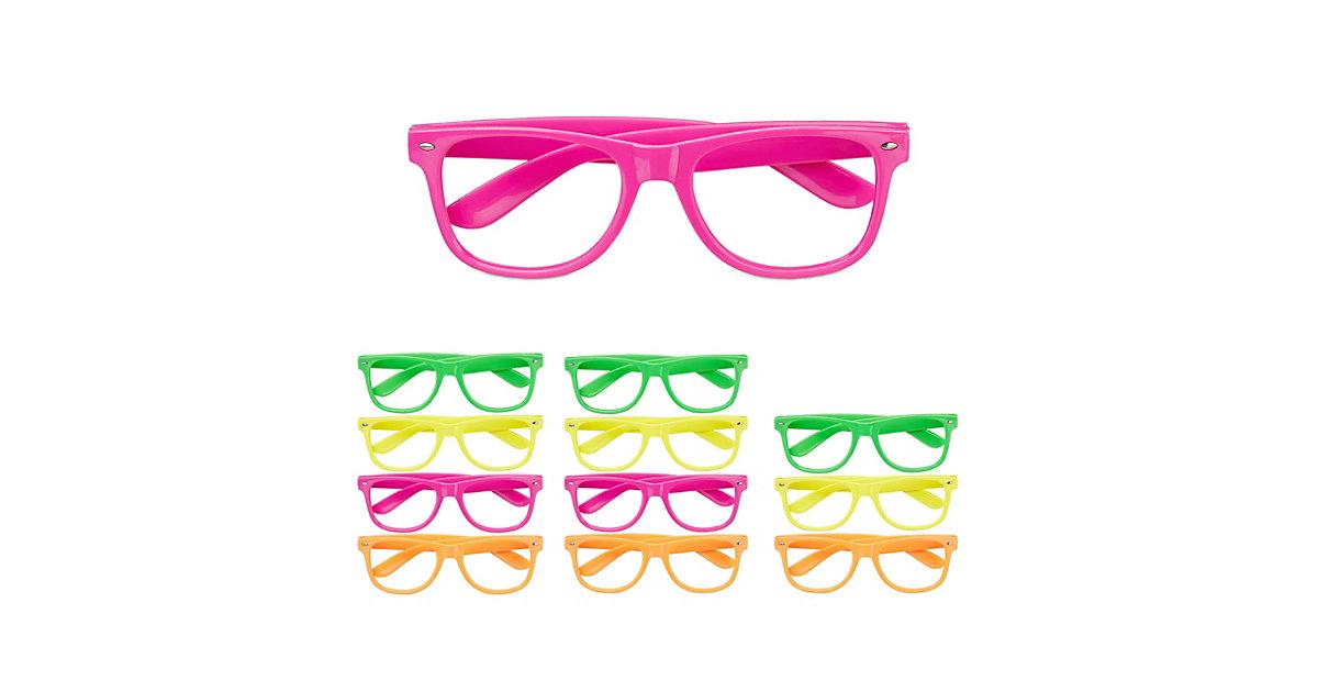 12x Partybrille Bunt, Neon Spassbrillen Faschingsbrille Lustige Brillen 4 Farben mehrfarbig