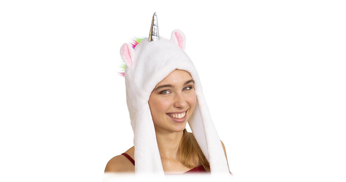 Einhorn Mütze mit Handwärmern weiß