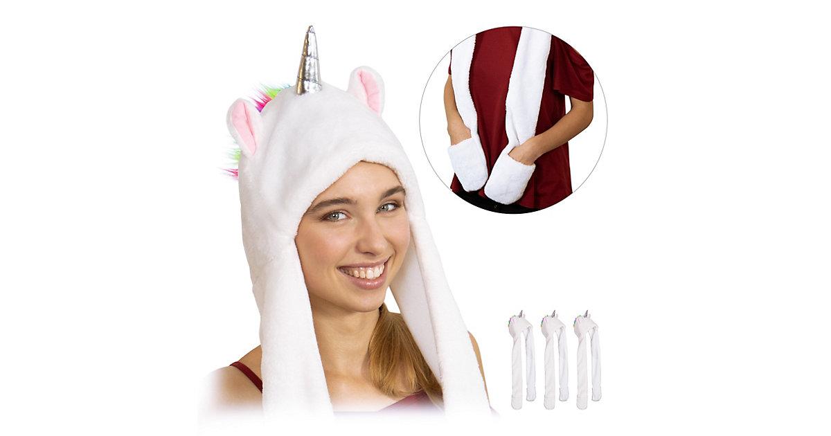 4 x Einhorn Mütze weiß, Tiermütze Schal, Einhorn Kostüm Einhornhut Unicorn Hat