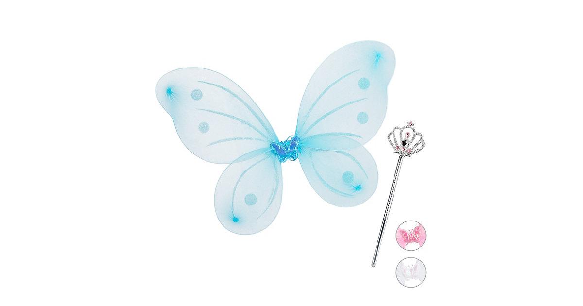 1 x Feenflügel Zauberstab Feenset blau Fee Kostüm Elfenflügel Elfen Kostüm Kind