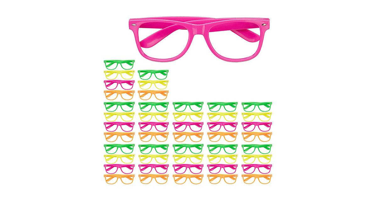 48x Partybrille Bunt, Neon Spassbrillen Lustige Brillen 4 Farben Faschingsbrille mehrfarbig