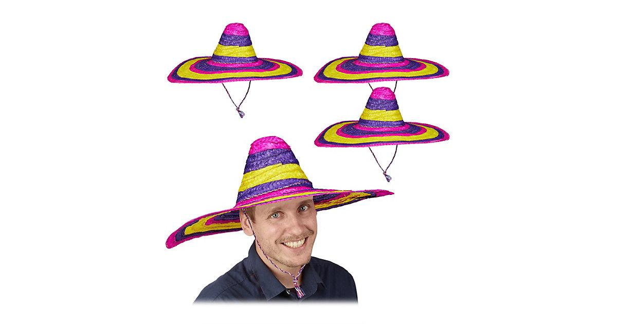 4 x Sombrero Hut bunt XXL Mexikohut Riesensombrero Mexikaner Hut Partyhut Mexiko mehrfarbig