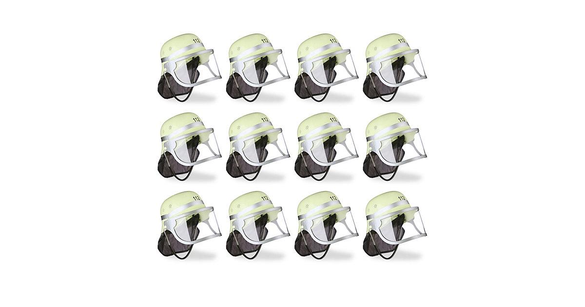 12x Feuerwehrhelm Kinder Helm Feuerwehr verstellbar Visier Nackentuch PVC gelb