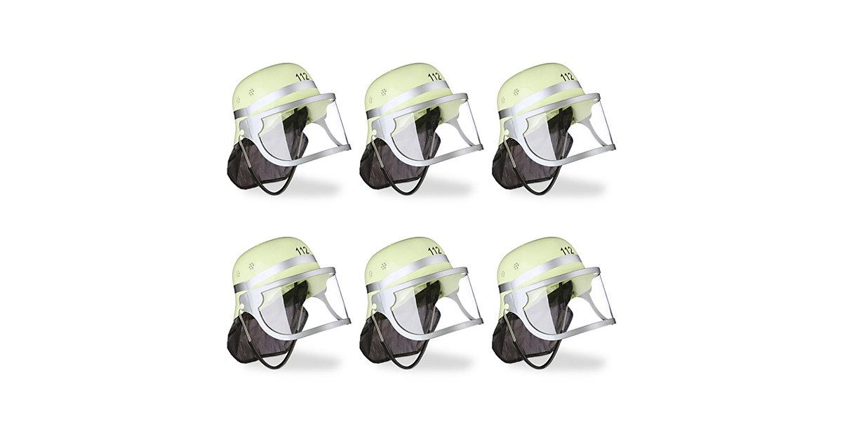 6x Feuerwehrhelm Kinder klappbar Helm Feuerwehr verstellbar Nackentuch Visier gelb