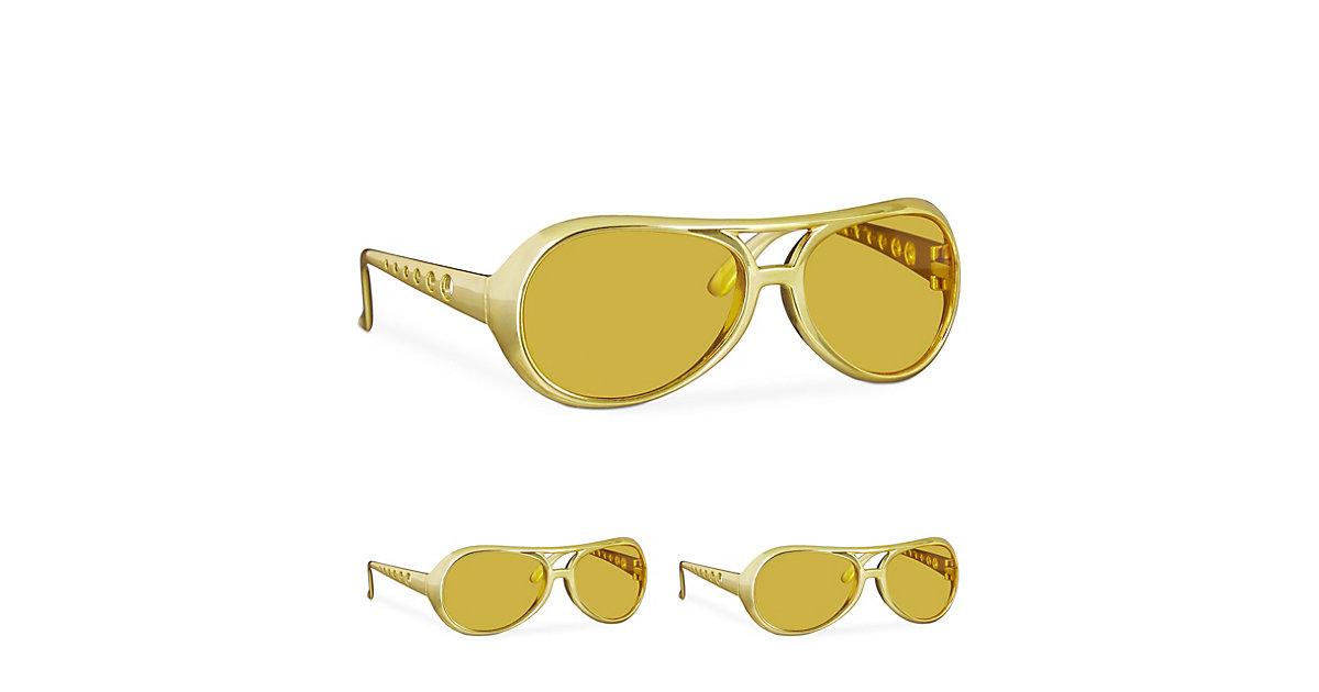 3 x Elvis Brille Gold Rapper Proll Brille Spaßbrille Karneval Kostüm Brille gold
