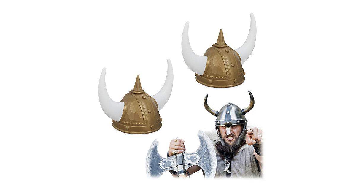 2x Wikinger Helm gold Wikingerhut Hörnerhelm Gallier Helm Wikinger Kopfbedeckung