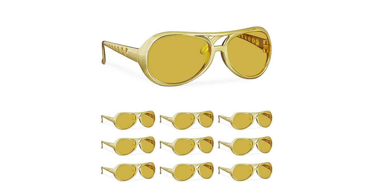 10x Elvis Brille 70er Pimp Rapper Fasching Karneval Sonnenbrille Zuhälter Kostüm gold