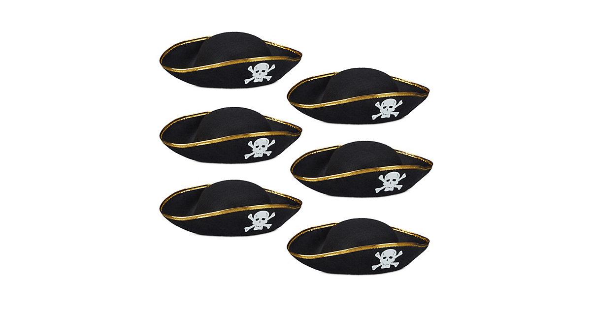 6x Piratenhut, Dreispitz mit Totenkopf schwarz, Hut Karneval Faschingskostüm  Erwachsene