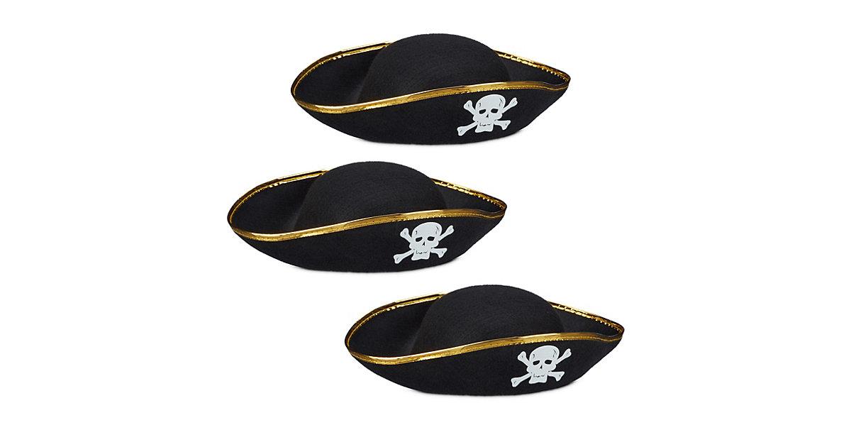 3x Piratenhut, Kopfbedeckung Karneval, Dreispitz schwarz, Seeräuberhut Totenkopf