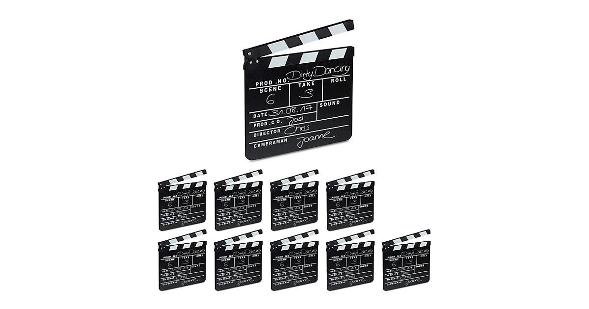 10x Filmklappe Szenenklappe Regieklappe Synchronklappe Holz schwarz Clapperboard