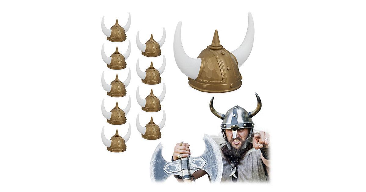 10 x Wikinger Helm Kopfbedeckung Wikinger Gallier Helm Wikingerhelm Wikingerhut gold