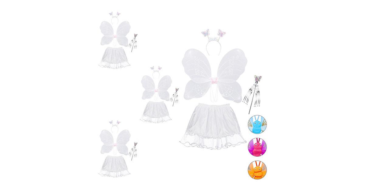 4 x Feenkostüm Kinder, Feenflügel, Zauberstab Haarreif   Rock, Fee Kostüm weiß