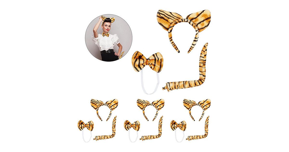 4 x Tigerohren Set, Tigerschwanz Plüschohren Fliege, Tigerohren Haarreif Kostüm braun-kombi