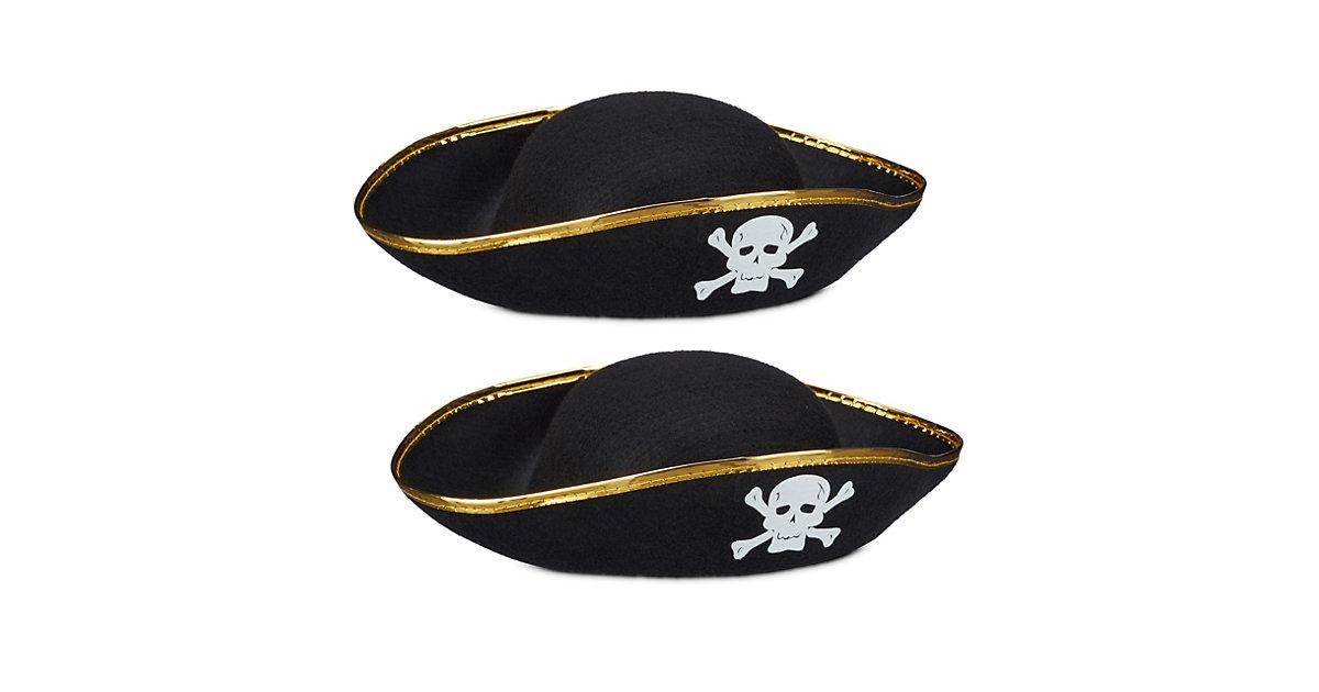 2x Piratenhut schwarz, Kopfbedeckung Karneval, Dreispitz, Seeräuberhut Totenkopf