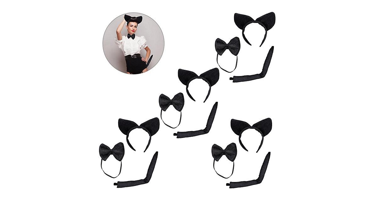 4 x Katzenohren Set Tierohren Haarreif Katze Fliege Katzenschwanz Kostümzubehör schwarz