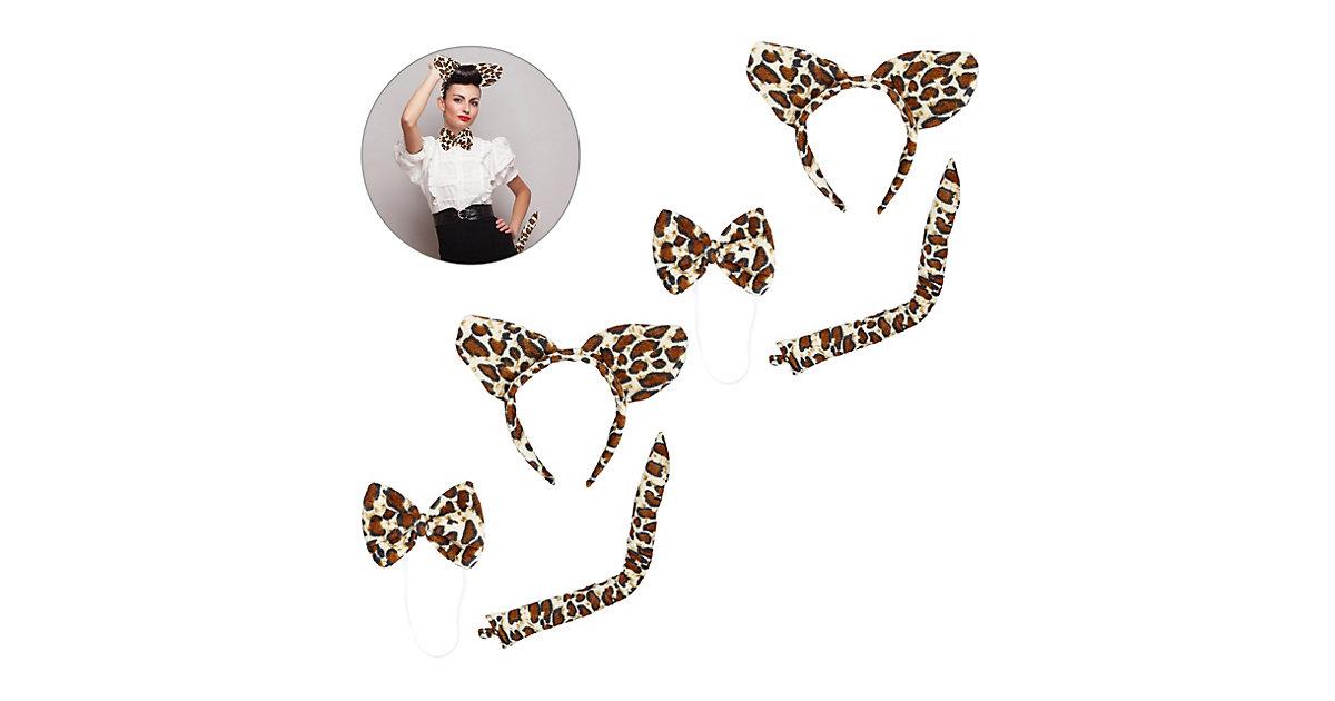 2 x Leoparden Ohren Set, Leopardenschwanz, Haarreif Katzenohren Leopard, Fliege braun