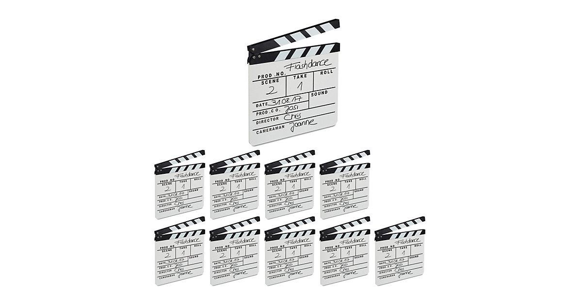 10 x Filmklappe, Clapperboard, Regieklappe Synchronklappe Holz weiß Szenenklappe