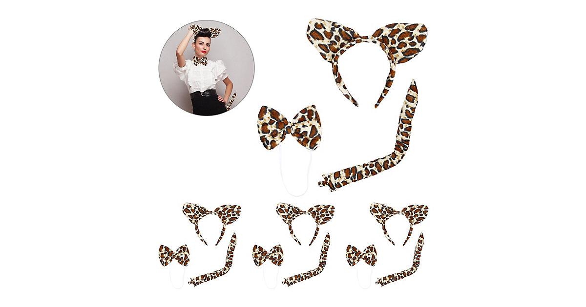 4 x Leoparden Ohren Set Haarreif Tierohren Leopard Fliege Leopardenschwanz braun